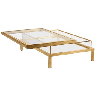 Huge Maison Jansen Sliding Top Coffee Table Complete in Brass For Sale