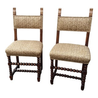Antique Fortuny Fabric Hall Chairs - a Pair