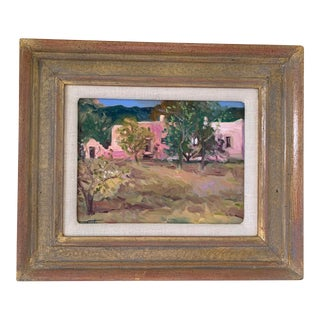 Original Pink Adobe Oil Painting For Sale