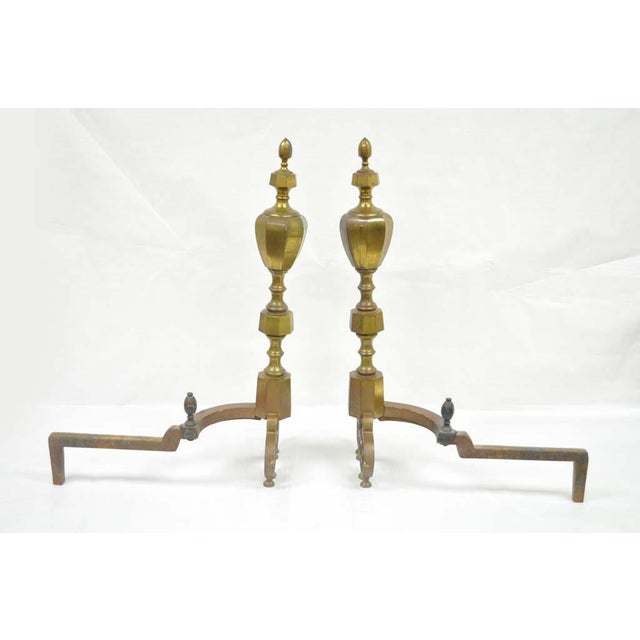 19th Century Antique Brass American Federal Fireplace Mantle Andirons - A Set For Sale - Image 9 of 11