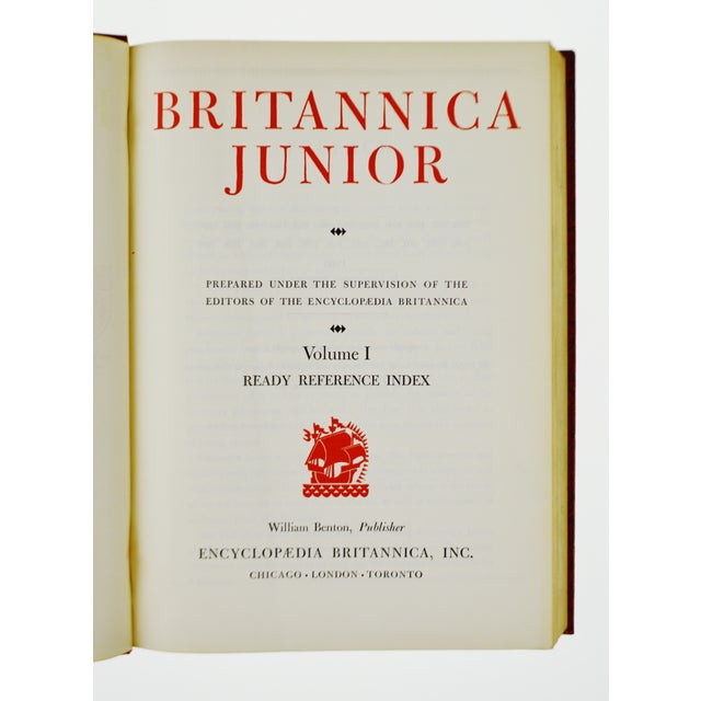Red 1960 Encyclopedia Britannica Junior Leather Bound Books - Set of 15 For Sale - Image 8 of 11
