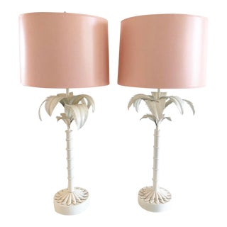 Vintage White Tole Palm Tree Lamps With Coral Painted Shades For Sale
