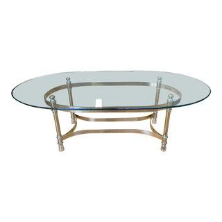 Maison Jenson Style Polished Brass + Glass Coffee Table For Sale