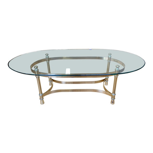 Maison Jenson Style Polished Brass + Glass Coffee Table For Sale