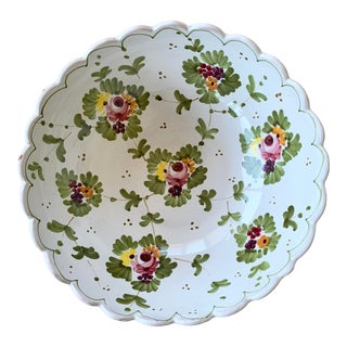 1970s Italian Hand Painted Ceramic Serving Bowl For Sale