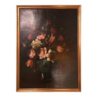 19th Century Oil on Canvas Still Life of Flowers in a Gilt Frame