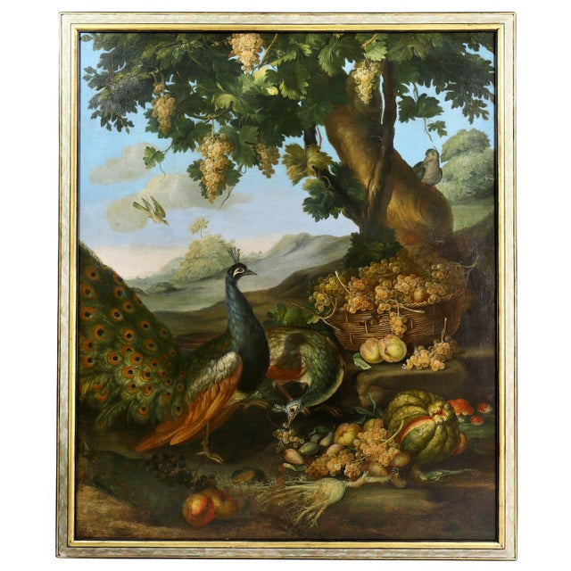 Large Flemish Oil on Canvas of Peacocks and Fruit in Landscape For Sale - Image 11 of 11