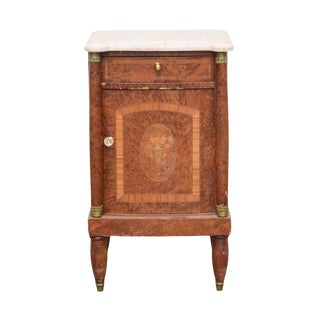Early 20th Century Italian Burr Elm, Marquetry, and Marble Bedside Cabinet For Sale