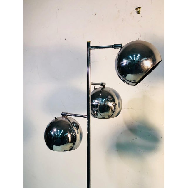 Koch & Lowy Three Globe Shades Chrome Floor Lamps- A Pair For Sale In Philadelphia - Image 6 of 7