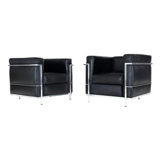 Pair of Licensed Le Corbusier Club Lounge Chairs by Alivar Lc2 For Sale