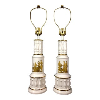 1940s Gilded Faience Greco Roman Style Tall Table Lamps - a Pair For Sale