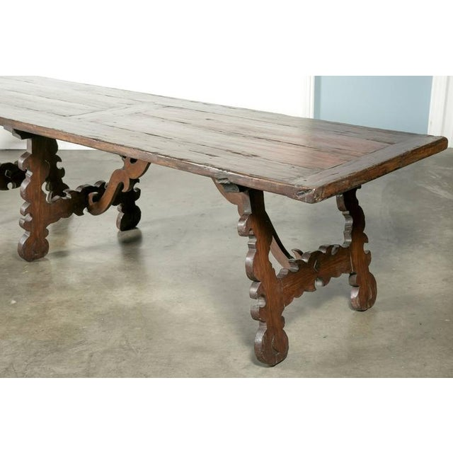 Early 19th Century Italian Baroque Style Walnut Trestle Dining Table For Sale In Birmingham - Image 6 of 10