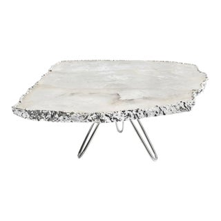 Torta Cake Stand, Crystal & Pure Silver For Sale