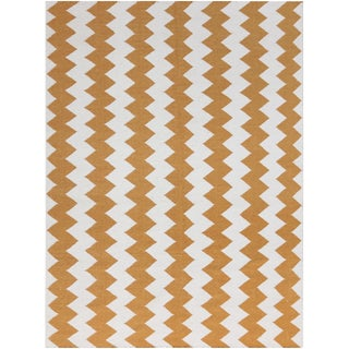 Zara Chevron Orange Flat-Weave Rug 5'x8' For Sale