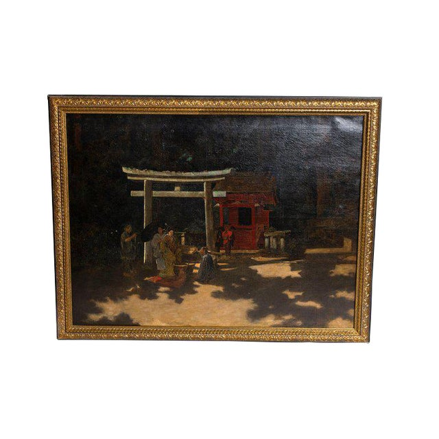 "Late 19th Century Francis Neydhart Oil on Canvas ""A Courtyard Ceremony, Nikko"" For Sale"