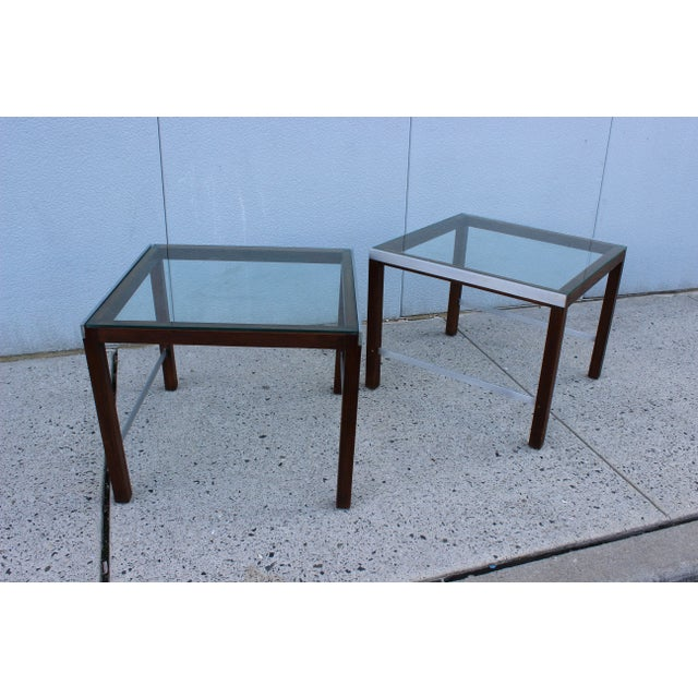 1970's Modern Chrome and Walnut Side Table For Sale - Image 5 of 8