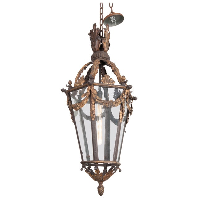 French 19th Century Iron and Gilt-Brass Single-Light Lantern For Sale - Image 13 of 13