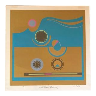 "1973 Vintage Robert Hunter ""Brown and Blue"" Serigraph Print For Sale"