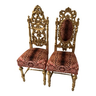 Vintage Alison in Wonderland Children Louis XVI Style Chairs With Versace Upholstery - a Pair For Sale