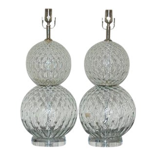 Vintage Murano Glass Stacked Ball Table Lamps Clear For Sale