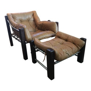 1960s Brazilian Rosewood Leather Lounge Chair and Ottoman - 2 Piece Set