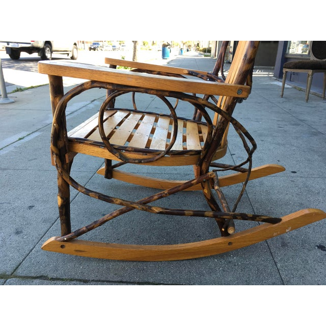Late 20th Century Late 20th Century Rustic Adirondack Oak and Hickory Twig Rocking Chair For Sale - Image 5 of 11