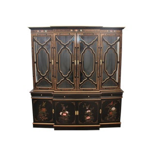 1980s Chinoiserie Black Lacquer Curio China Display Cabinet For Sale