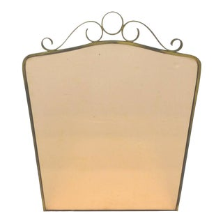 Art Deco Brass Peach Glass Wall Mirror For Sale