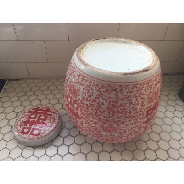Chinese Coral & White Porcelain Ginger Jar - Image 6 of 7
