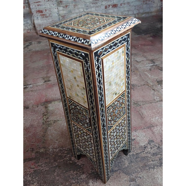 """1940s Syrian Pair of Vintage """"Tower Shaped"""" Petite Inlaid Stands For Sale - Image 5 of 10"""