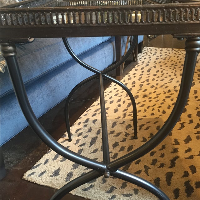 The Rectangular Black X-Leg Accent Table with Granite top and gold accents really 'pops'! Versatile and unique....