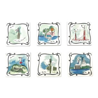 Ceramic Vacationist Coasters - Set of 6 For Sale