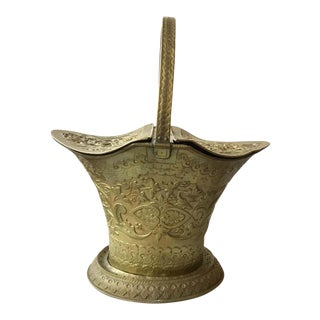 1920s Ornate Brass Coal Scuttle For Sale