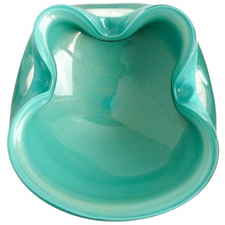 Vintage Mid Century Alfredo Barbini Murano Teal Blue Green & Gold Flecks Italian Glass Candy Bowl For Sale