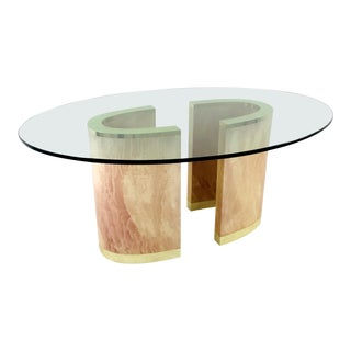 2-Piece Pedestal Base Dining Table with Brass Plinth and Glass Top - 3 Pieces For Sale