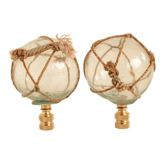 Netted Nautical Glass Lamp Finials on Brass Bases - a Pair For Sale