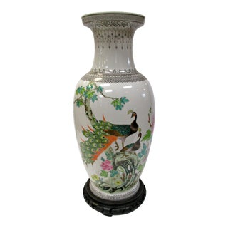 Chinese Peacock Vase on Stand For Sale