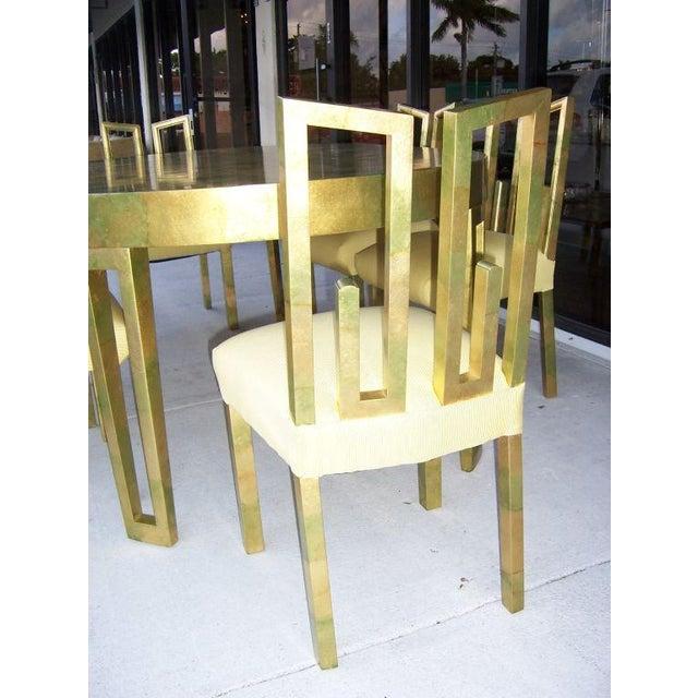 A James Mont Camouflage Gold Leaf Dining Room Set - Image 4 of 10