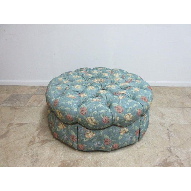 Henredon Tufted Round Schoonbeck Hobb Nail Ottoman Foot Stool Bench Seat For Sale - Image 11 of 11