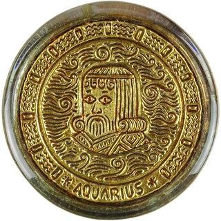 Vintage Venetian Gold Leaf Embossed Aquarius Zodiac Sign Italian Art Glass Paperweight For Sale