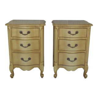 Huntley Furniture French Louis XV Style Serpentine Front Nightstands - Pair For Sale