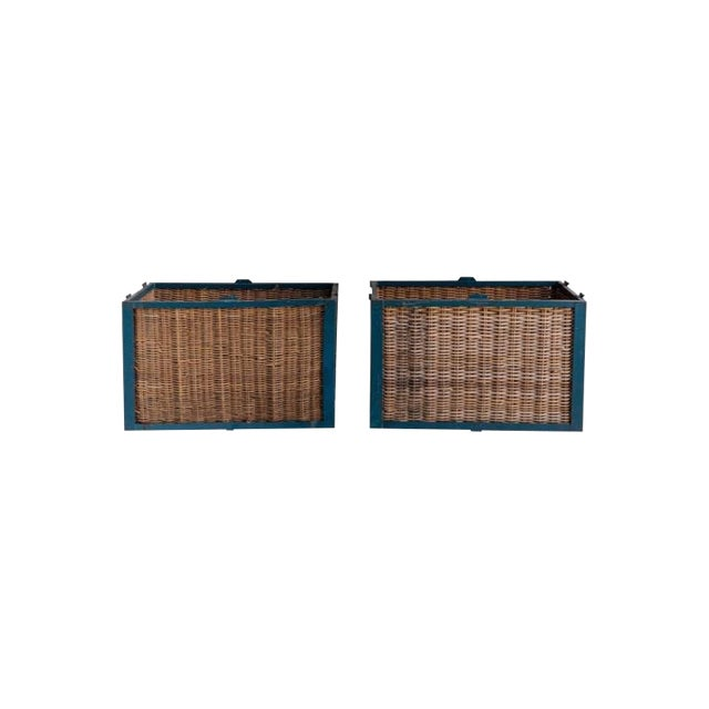 Pair of Large French Industrial Wicker Baskets For Sale