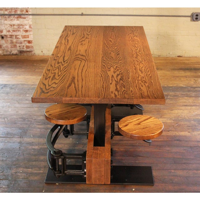 Industrial Industrial Swing-Out-Seat Cafe Table For Sale - Image 3 of 9