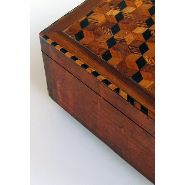 Mid 19th Century A Handsome and Warmly-Patinated English William IV Mahogany Dressing Box With Tumbling Block Inlay For Sale - Image 5 of 7
