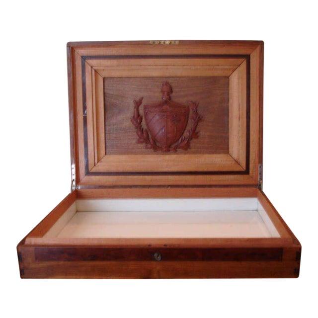 Treasure--Cuban Wood Cigar Humidor Cuba's Coat of Arms- circa 1940---Provenance For Sale