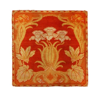 Antique Floral Red and Beige Silk Rug For Sale