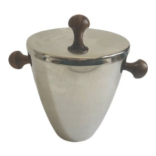 1970s Mid-Century Stainless Steel and Teak Ice Bucket For Sale