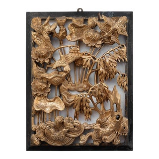 Vintage Chinese Gilded Hand-Carved Wood Relief Panel of Birds and Flowers For Sale