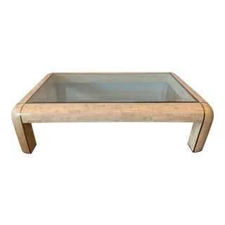 Maitland-Smith RectangleTessellated Stone & Brass Glass Top Coffee Table For Sale