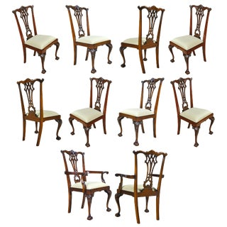 Gothic Mahogany Chippendale Chairs- Set of 10 For Sale